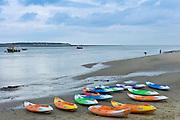 Kayaks on the beach in Aberdyfi, Aberdovey, Snowdonia, Wales