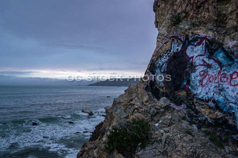Graffiti on the bluffs of Pirates Cove Avila Beach