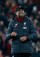 Football - 2019 / 2020 Premier League - Liverpool vs. Wolverhampton Wanderers<br /> <br /> Liverpool manager Jurgen Klopp celebrates in front of the Kop after his side gains a 1-0 win, at Anfield.<br /> <br /> COLORSPORT/ALAN MARTIN