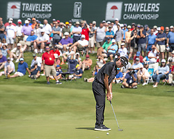 June 22, 2018 - Cromwell, CT, USA - Bubba Watson pars the 17th hole during the second round of the Travelers Championship at TPC River Highlands in Cromwell, Conn., on Friday, June 22, 2018. (Credit Image: © Patrick Raycraft/TNS via ZUMA Wire)