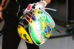 The helmet of Lewis Hamilton (GBR) Mercedes AMG F1.<br /> 11.11.2016. Formula 1 World Championship, Rd 20, Brazilian Grand Prix, Sao Paulo, Brazil, Practice Day.<br /> Copyright: Batchelor / XPB Images / action press