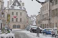Beaune France - Street scen in snow .<br /> <br /> Visit our FRANCE HISTORIC PLACES PHOTO COLLECTIONS for more photos to download or buy as wall art prints https://funkystock.photoshelter.com/gallery-collection/Pictures-Images-of-France-Photos-of-French-Historic-Landmark-Sites/C0000pDRcOaIqj8E