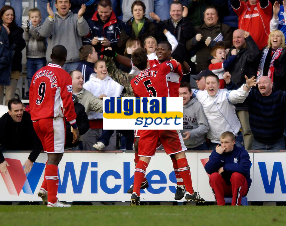 Photo: Jed Wee.<br /> Preston North End v Middlesbrough. The FA Cup. 19/02/2006.<br /> <br /> Middlesbrough celebrate with goalscorer Yakubu (R).