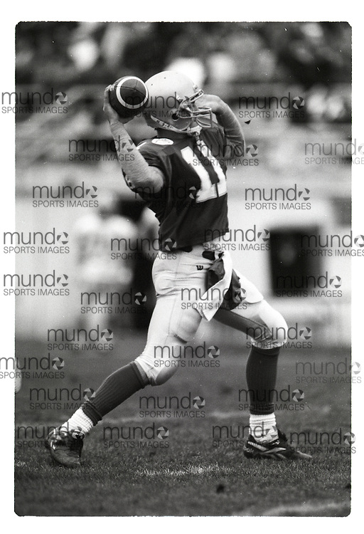"""If you wish to purchase this image, please contact us at info@mundosportimages.com quoting file name """"19961014_SB_UWOb&W_004.JPG"""" and we will clean the image before sending preparing it for sale to you. This is one of several thousand """"raw"""" black and white negative scans, each of which will need to be prepared for printing individually, which could take some time. Your understanding is appreciated...(October 14, 1996) University of Western Ontario Mustangs men's football versus the University of Windsor Lancers   played at J W Little Stadium in London, Ontario. Photograph copyright Sean Burges / Mundo Sport Images."""
