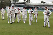 Lancashire Div 2 Champions leave the field during the Specsavers County Champ Div 2 match between Leicestershire County Cricket Club and Lancashire County Cricket Club at the Fischer County Ground, Grace Road, Leicester, United Kingdom on 26 September 2019.