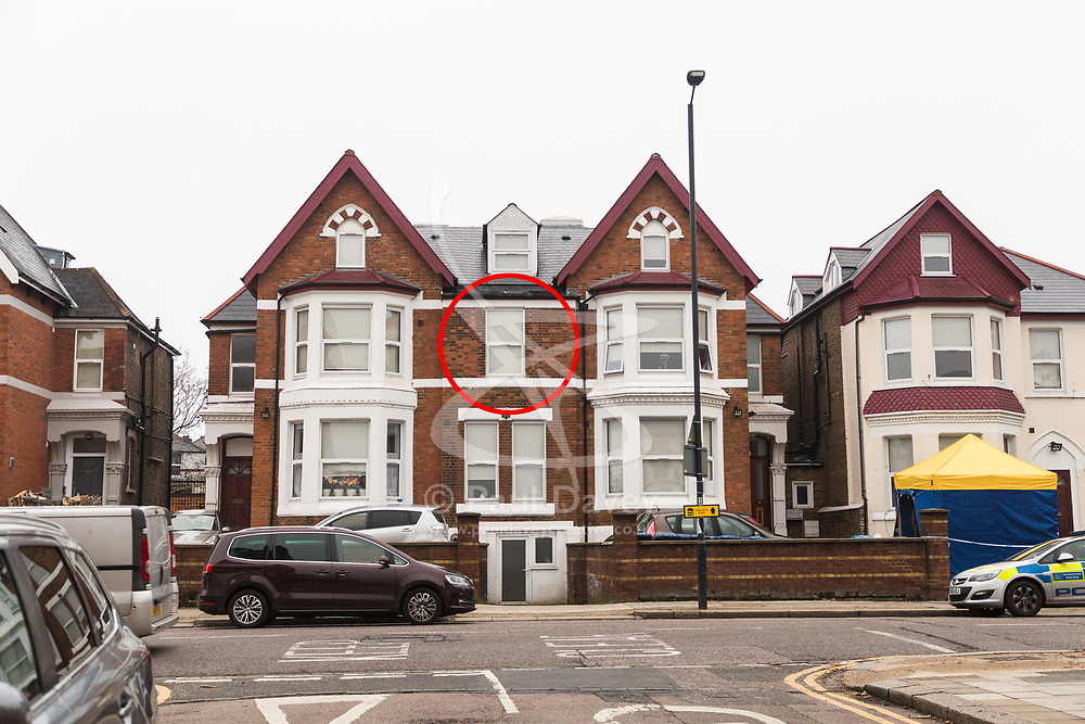 Circled is the window at which detectives were seen working in a Victorian house converted to 12 flats at 65 Craven Park Road, Harlesden, West London, where two Improvised Explosive Devices were discovered by workers refurbishing a flat. Harlesden, London, November 22 2018.