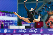 Tashkenbaeva Sabina during final at clubs in Pesaro World Cup at Adriatic Arena on April 15, 2018. Sabina is an Uzbek  rhythmic gymnast  was born in Tashkent, 2000. She began competing in gymnastics at age six. His dream is to participate in the upcoming Tokyo Olympics in 2020