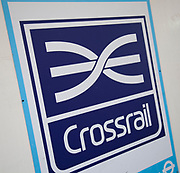Sign for Crossrail, the multi million pound rail development which will join east and west London.