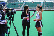 Luciana Aymar of Argentina does a post match interview after their match against SouthAfrica in the Investec Hockey World League Semi Final 2013, the Quintin Hogg Memorial Sports Ground, University of Westminster, London, UK on 27 June 2013. Photo: Simon Parker