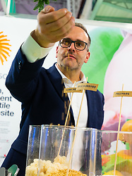 A representative from Store Enso handles biocomposites at the Toy Fair at Kensington Olympia in London, the UK's largest dedicated game and hobby exhibition featuring the hottest and most anticipated products for the year ahead. London, January 22 2019.