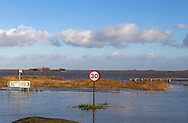 Floods of  6 12 2013 due to tidal surge showing flooded coast road, A 149,  Cley next the sea,  Norfolk UK