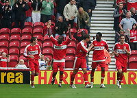 Photo: Andrew Unwin.<br />Middlesbrough v Everton. The Barclays Premiership. 14/10/2006.<br />Middlesbrough's Yakubu (1 from L) celebrates his goal.