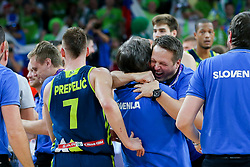 Branko Cveticanin, dr. med. and Aleksander Sekulic, assistant coach of Slovenia celebrate after winning during basketball match between National Teams of Slovenia and Spain at Day 15 in Semifinal of the FIBA EuroBasket 2017 at Sinan Erdem Dome in Istanbul, Turkey on September 14, 2017. Photo by Vid Ponikvar / Sportida