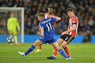 Billy Jones of Sunderland ® and Marc Albrighton of Leicester city challenge for the ball.  Premier league match, Leicester City v Sunderland at the King Power Stadium in Leicester, Leicestershire on Tuesday 4th April 2017.<br /> pic by Bradley Collyer, Andrew Orchard sports photography.