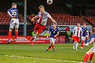 Hubert Turski stretches to get the ball during the U17 European Championships match between Scotland and Poland at Firhill Stadium, Maryhill, Scotland on 26 March 2019.