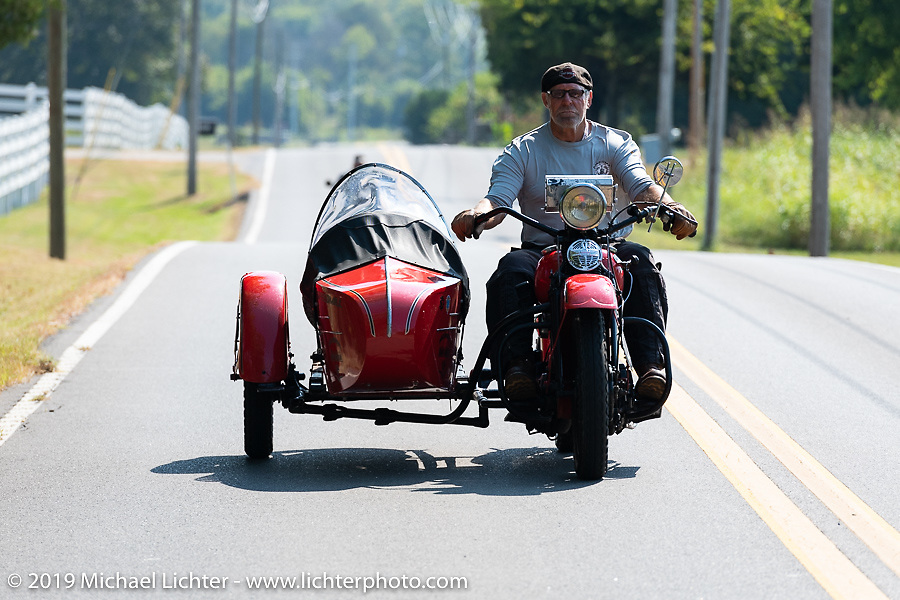 Erik Dunk, known to everyone simply as Dunk, with his 1937 Harley-Davidson EL during the Cross Country Chase motorcycle endurance run from Sault Sainte Marie, MI to Key West, FL (for vintage bikes from 1930-1948). Stage 5 had riders cover 213 miles from Bowling Green, KY to Chatanooga, TN USA. Tuesday, September 10, 2019. Photography ©2019 Michael Lichter.