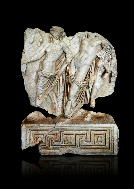 Roman Sebasteion relief  sculpture of Dionysus Drunk Aphrodisias Museum, Aphrodisias, Turkey.   Against a black background.<br /> <br /> A prancing woodland nymph leads drunken Dionysus who supports himself languidly on a small satyr. This is an image of Dionysian enjoyment and pleasure, hellenistic in style and fluently designed .<br /> <br /> If you prefer to buy from our ALAMY STOCK LIBRARY page at https://www.alamy.com/portfolio/paul-williams-funkystock/greco-roman-sculptures.html . Type -    Aphrodisias     - into LOWER SEARCH WITHIN GALLERY box - Refine search by adding a subject, place, background colour, museum etc.<br /> <br /> Visit our ROMAN WORLD PHOTO COLLECTIONS for more photos to download or buy as wall art prints https://funkystock.photoshelter.com/gallery-collection/The-Romans-Art-Artefacts-Antiquities-Historic-Sites-Pictures-Images/C0000r2uLJJo9_s0