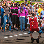 Terrell Maddox wins the talent contest as a crowd of his fans cheer him on.