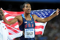 ATHLETICS - IAAF WORLD CHAMPIONSHIPS 2011 - DAEGU (KOR) - DAY 9 - 04/09/2011 - PHOTO : STEPHANE KEMPINAIRE / KMSP / DPPI - <br /> TRIPLE JUMP - MEN - FINAL - WINNER - GOLD MEDAL - CHRISTIAN TAYLOR (USA)