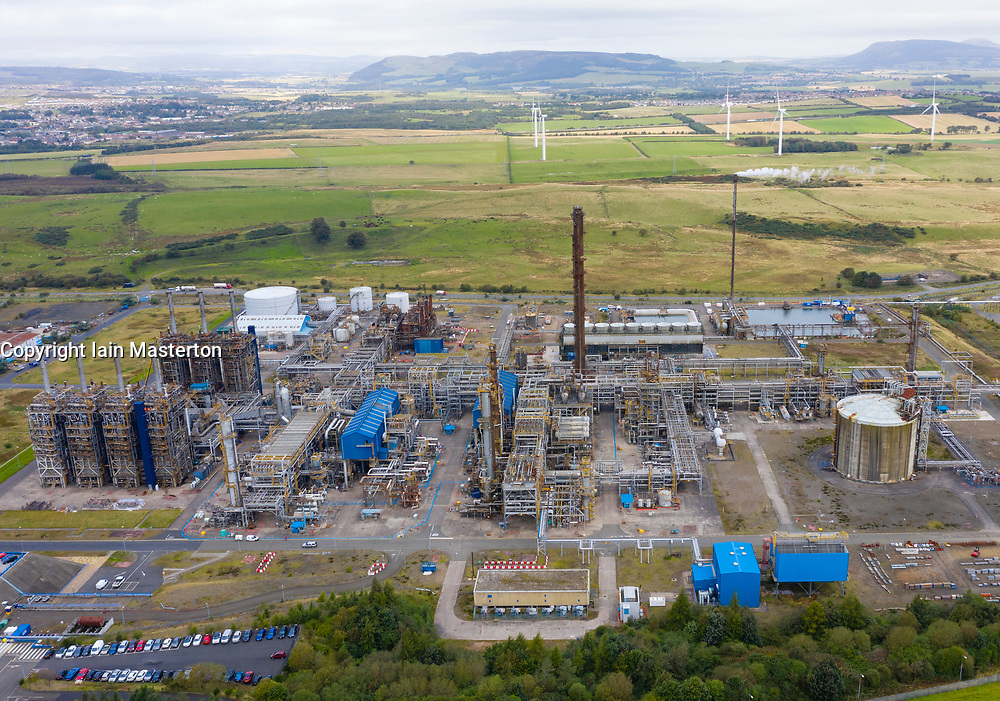 Aerial view of Mossmorran ethylene plant on 18th September 2019 in Fife, Scotland, UK. The plant is jointly operated by ExxonMobil and Shell UK. Public have raised concerns about the amount of flaring and associated noise and vibrations and ExxonMobil have announced a new project to mitigate future flaring