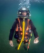 Desco Pot helmet diver at Dutch Springs, Scuba Diving Resort in Bethlehem, Pennsylvania