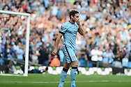 Frank Lampard of Man city 'celebrates' after he scores his sides 1st goal to make it 1-1. Barclays premier league match, Manchester city v Chelsea at the Etihad stadium in Manchester,Lancs on Sunday 21st Sept 2014<br /> pic by Andrew Orchard, Andrew Orchard sports photography.