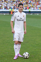 Colombian player, James Rodriguez, during his official presentation as a new Real Madrid player at the Santiago Bernabeu stadium in Madrid, Spain. July 22, 2013. (ALTERPHOTOS/Victor Blanco)