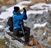 Nature photographer at Hornøya, northern Norway.
