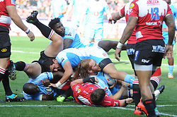 14-07-18 Johannesburg. Emirates Airlines Park. Emirates Lions vs Vodacom Blue Bulls. Lions and Bulls players scramble for the ball in a loose scrum.<br /> 1st half. <br /> Picture: Karen Sandison/African News Agency (ANA)