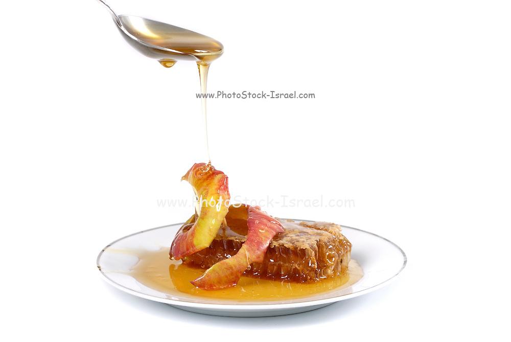 Apples Honey and honeycomb, Symbols of Roah Hashanah the Jewish New Year on white background.