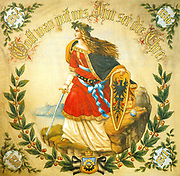 Banner with the image of Germania, symbol of a united Germany, c1918. The banner carries the four crucial dates of German Unification.