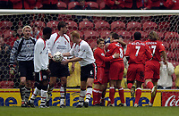 Photo. Jed Wee.<br /> Middlesbrough v Southampton, FA Barclaycard Premiership, The Riverside, Middlesbrough. 12/04/2004.<br /> Middlesbrough celebrate their second goal while a shell-shocked Southampton defence try to get back on track.