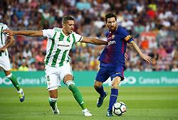 August 20, 2017 - Barcelona, Spain - Leo Messi and Zou Feddal during La Liga match between F.C. Barcelona v Alaves, in Barcelona, on September 10, 2016. Photo: Edi Capmany/Urbanandsport/Nurphoto  (Credit Image: © Urbanandsport/NurPhoto via ZUMA Press)