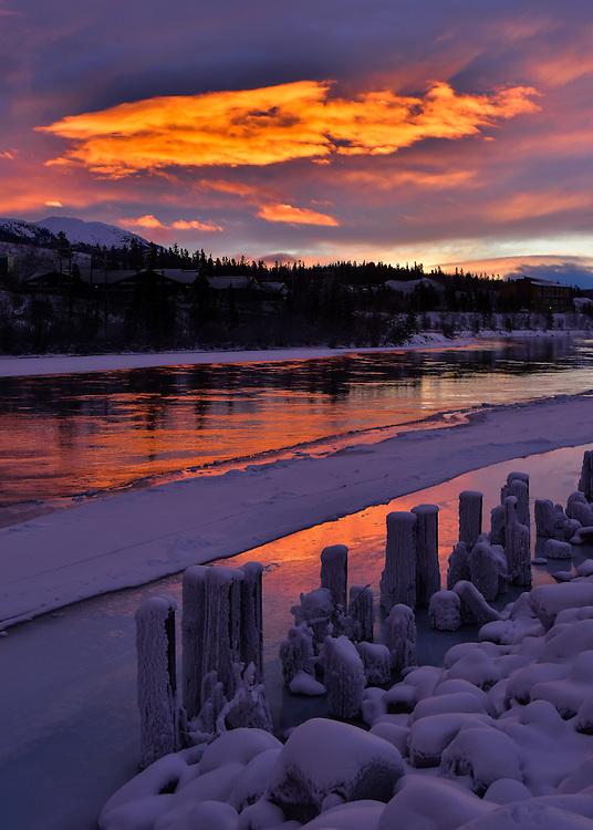 A fiery winter sunrise, Yukon River, Whitehorse, Yukon