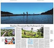 New York Times Tearsheet double page spread Fiji Paradise threatned by Australian Melbourne based photojournalist Asanka Brendon Ratnayake