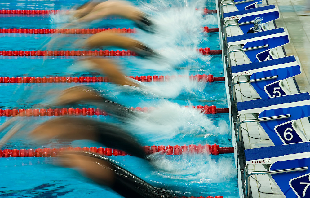 Swimmers launch from the start of the men's 200m backstroke qualifying heat on August 13, 2008 at th National Aquatic Center during the 2008 Summer Olympic Games in Beijing, China. (photo by David Eulitt / MCT)