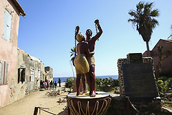 DAKAR, SENEGAL - FEBRUARY 28: An Emancipation statue is seen at the Goree Island known as 'Island of Shame' due to its bad reputation in consequence of being a center of Atlantic slave trade between 15th to 19th century, in Dakar, Senegal on February 28, 2018. Island of Shame is now used as a museum to show colonialism and slavery activities of today's 'civilized' countries such as Portugal, Netherlands, England and France.<br /> <br /> <br /> <br /> <br /> <br /> <br />  Halil Sagirkaya / Anadolu Agency  | BRAA20180308_095 Dakar Sénégal