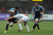 Cardiff Blues Manoa Vosawai (with ball) takes on the Leinster defence. Guinness Pro12 rugby match, Cardiff Blues v Leinster Rugby at the Cardiff Arms Park in Cardiff, South Wales on Saturday 20th Feb 2016.<br /> pic by Carl Robertson, Andrew Orchard sports photography.