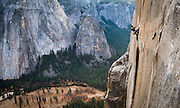 Kevin Jorgeson climbing the 5.14d pitch 15 on El Capitan's Dawn Wall in November of 2013. Over a year later he and partner Tommy Caldwell completed the 3000' route in Yosemite Valley during an epic nineteen day push. The route is regarded by many as being the hardest rock climb in the world.