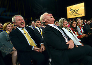 © Licensed to London News Pictures. 26/09/2012. Brighton, UK Lord Ashdown (right). Deputy Prime Minister and leader of the Liberal Democrat Party, Nick Clegg, arrives with his wife Miriam Gonzalaz Durantez to deliver his keynote speech at the Liberal Democrat Conference at the Brighton Centre in Brighton today 25th September 2012. Photo credit : Stephen Simpson/LNP