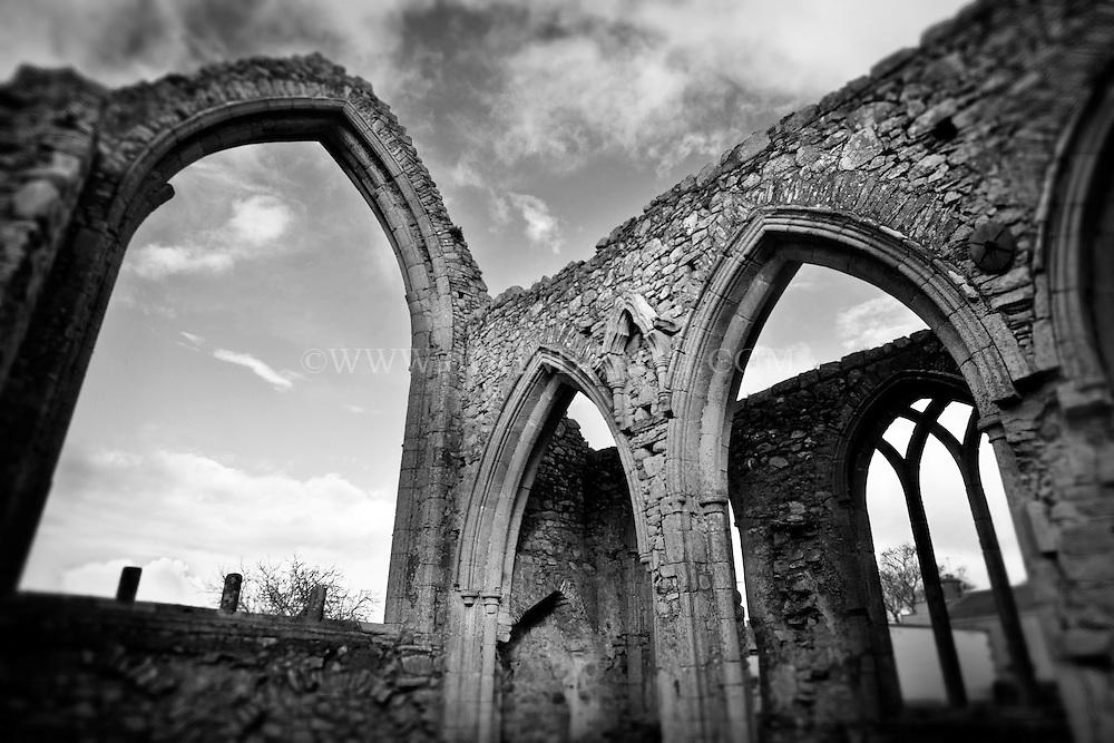 Black and white photo of Castledermot in County Kildare, Ireland.