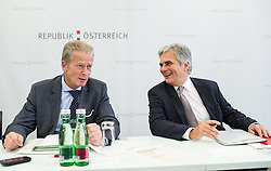26.09.2014, Congress, Schladming, AUT, Bundesregierung, Regierungsklausur, im Bild v.l.n.r. Vizekanzler und Minister fuer Wirtschaft und Wissenschaft Reinhold Mitterlehner (OeVP) und Bundeskanzler Werner Faymann (SPOe) // f.l.t.r. Vice Chancellor of Austria and Minister of Science and Economy Reinhold Mitterlehner (OeVP) and Federal Chancellor of Austria Werner Faymann (SPOe)  during convention of the austrian government at congress center in Schladming, Austria on 2014/09/26, EXPA Pictures © 2014, PhotoCredit: EXPA/ Michael Gruber