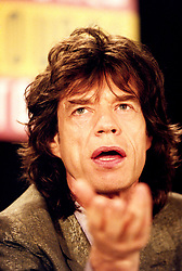 British rock star Mick Jagger, frontman of legendary British rock and roll band The Rolling Stones, during a press conference for their up and coming 'Voodoo Lounge' tour.