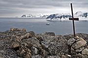 """View from the top of Norskeöya in the very north-western tip of Spitsbergen, Svalbard.  In the background is the exploration vessle """"Polar Star"""" and the Spitsbergen mainland."""