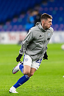 Cardiff City's Gavin Whyte (20) during the pre-match warm-up at the EFL Sky Bet Championship match between Cardiff City and Birmingham City at the Cardiff City Stadium, Cardiff, Wales on 16 December 2020.