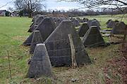 Concret Dragons Teeth, or Drachenzähne, remains of the World War 2 German Siegfriend Line, near the village of Schmithof, Aaachen, Germany
