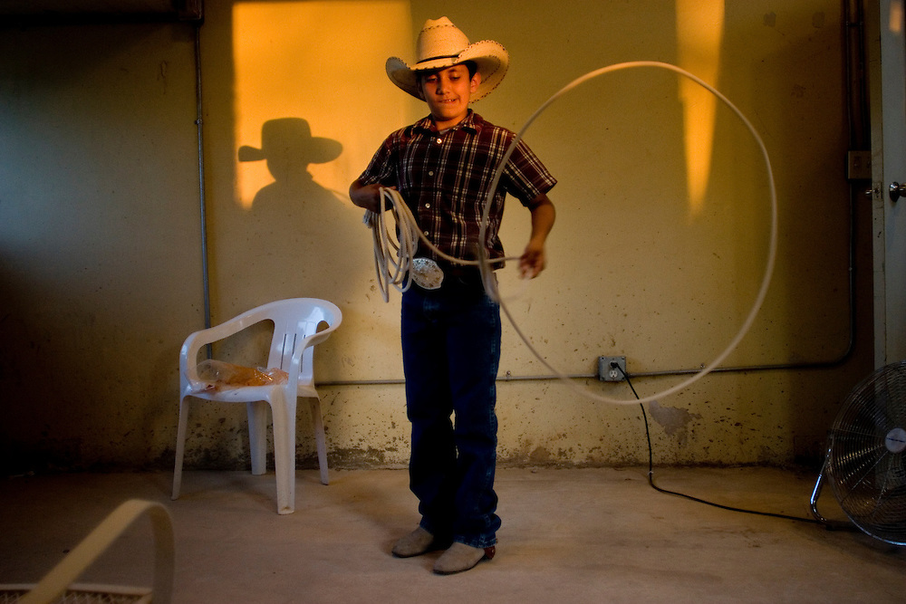 A young charro shows off his skill with a reata at the Charro Ranch in San Antonio, Texas.