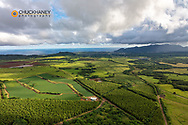 Aerial view of forest and agriculture land near Wailua in Kauai, Hawaii, USA