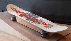 © Licensed to London News Pictures. 22/01/2012. London, U.K..Skateboard coffin commissioned by a family who's son was killed on a skateboard..Boxed Exhibition at the Royal Festival Hall on the South Bank, London, showing fabulous weird and whacky coffins from the UK and Ghana..Photo credit : Rich Bowen/LNP