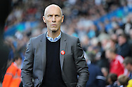 Bob Bradley, the Swansea city manager looks on ahead of k/o. Premier league match, Swansea city v Watford at the Liberty Stadium in Swansea, South Wales on Saturday 22nd October 2016.<br /> pic by  Andrew Orchard, Andrew Orchard sports photography.